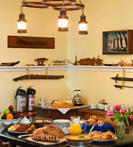 Breakfast buffet table in a Maine Coast bed and breakfast