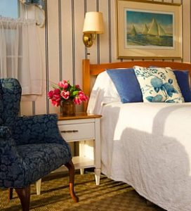 Bedroom in a Maine Coast lodging