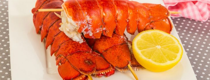 Three large steamed lobster tails on wooden skewers on white plate with half of lemon..