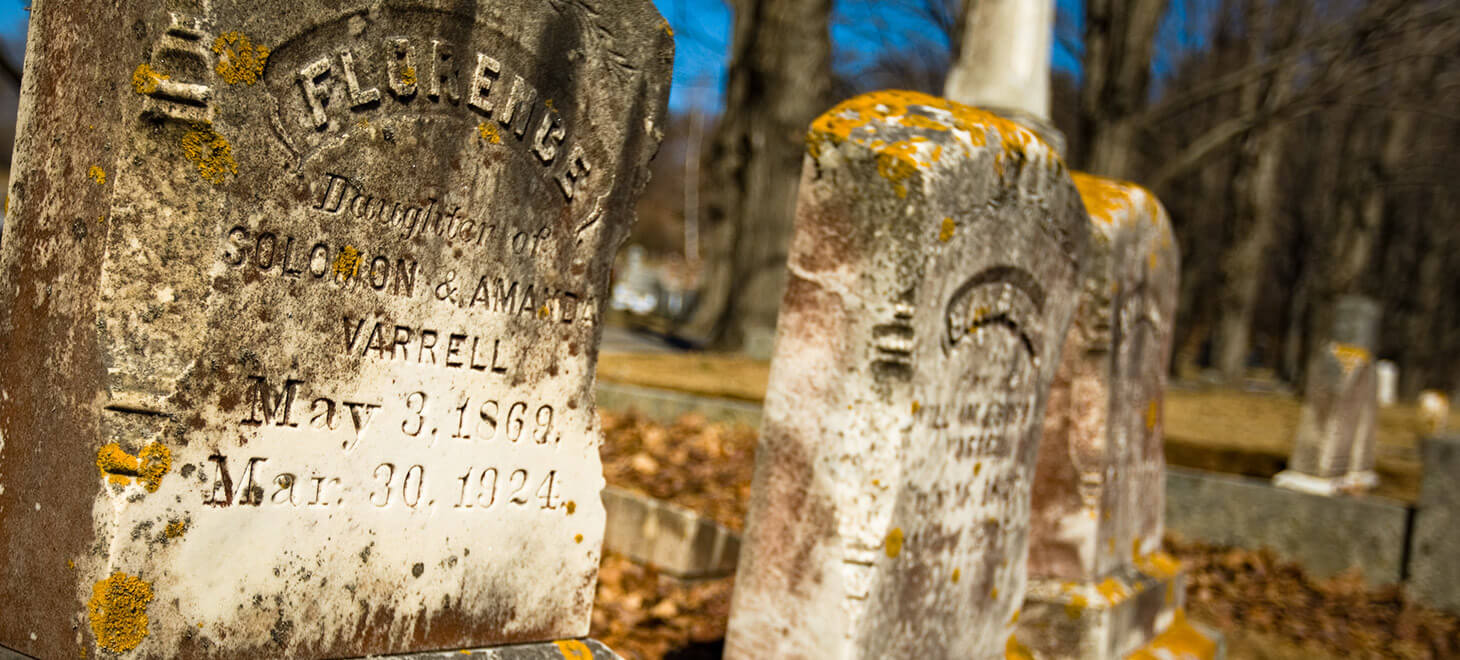 Tombstones in a graveyard in York, ME