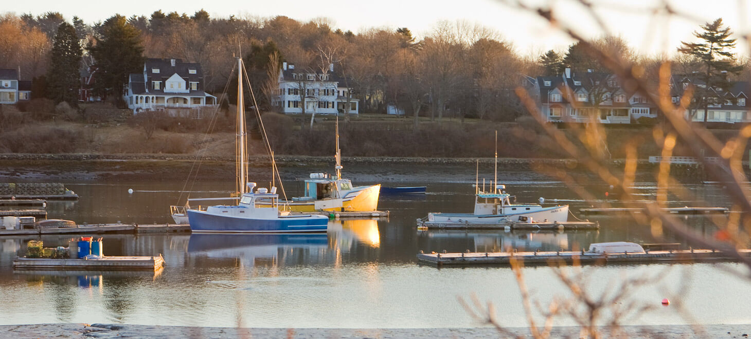 View from the water with boats in York, Maine