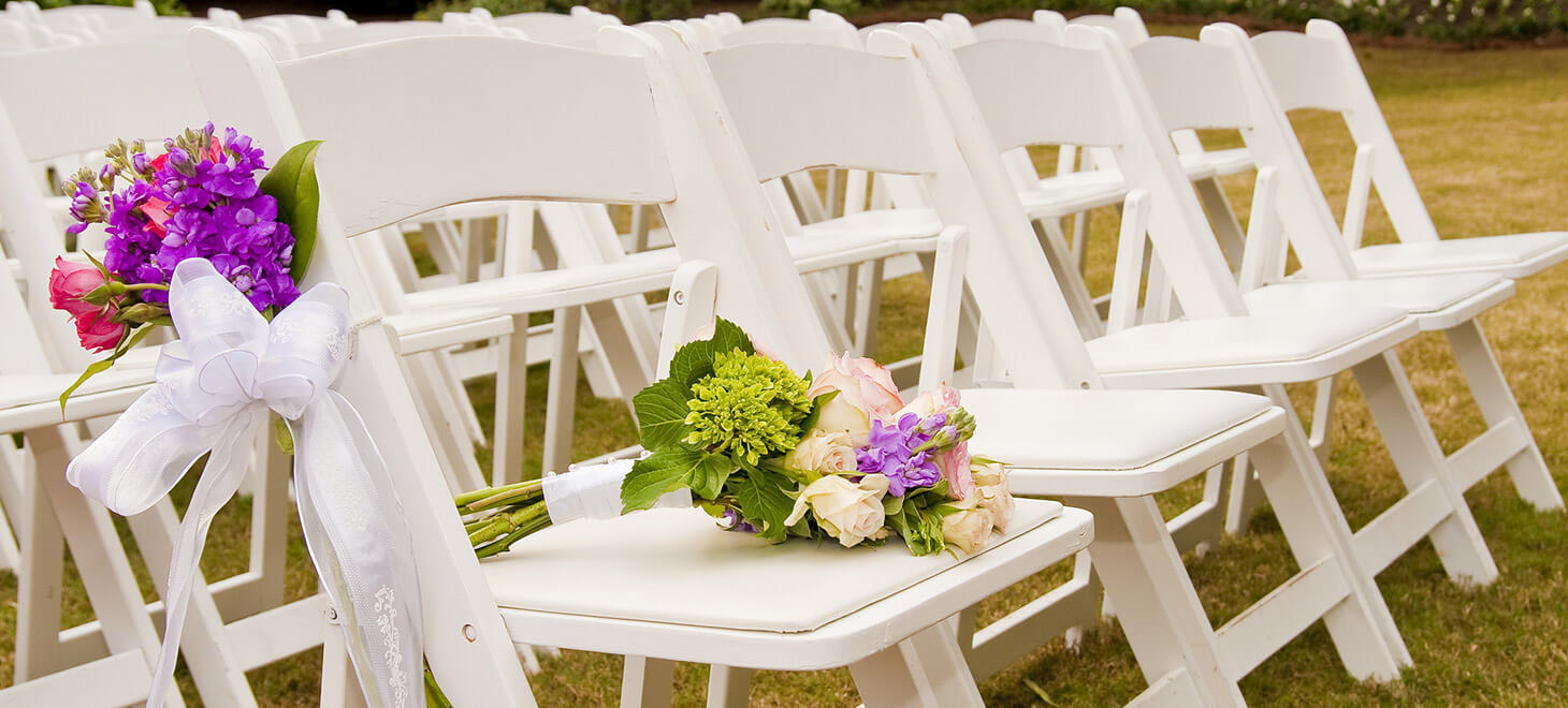 Chairs set up for a wedding ceremony