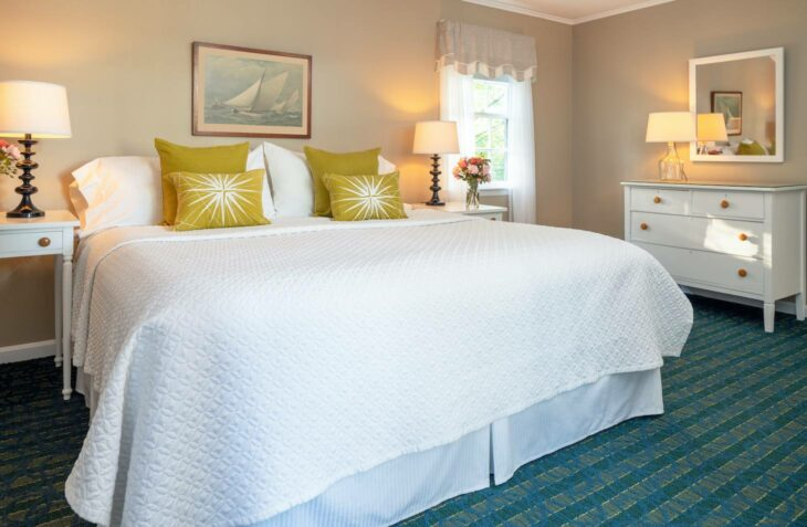 Room 118 bed at our getaway near Portsmouth NH