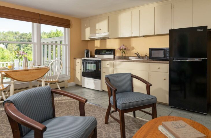 Room 121 living room and kitchenette