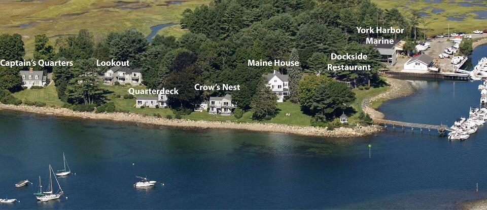 Aerial View of Dockside Guest Quarters, Dockside Restaurant & York Harbor Marina