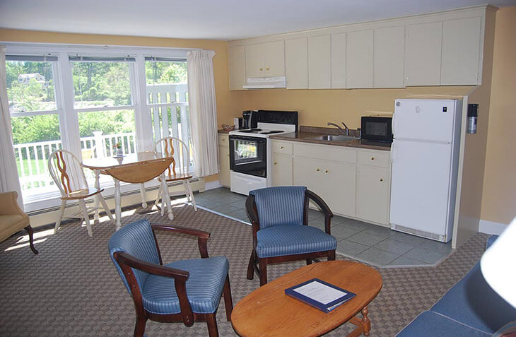 Room 121 living room and kitchenette