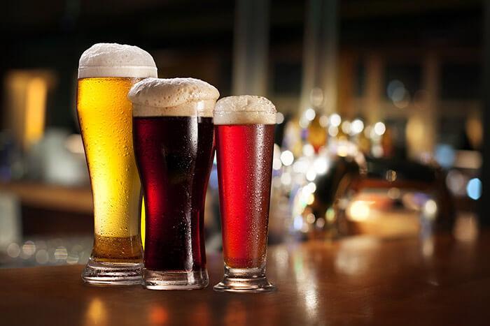 various beers at a brewery