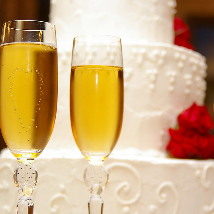 Champagne and cake at a Maine elopement