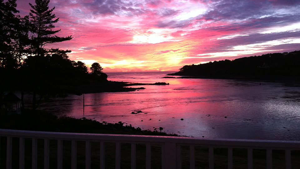 Sunset in Maine. in the fall