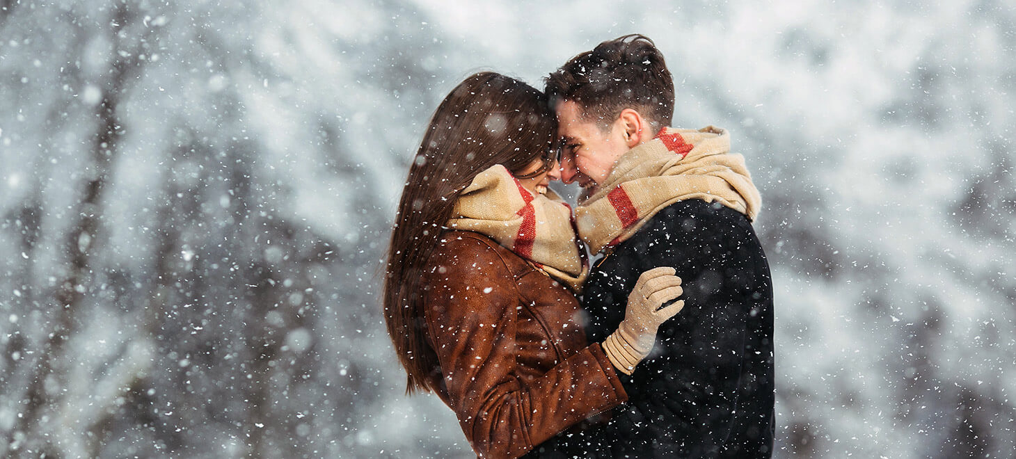 Romantic winter couple