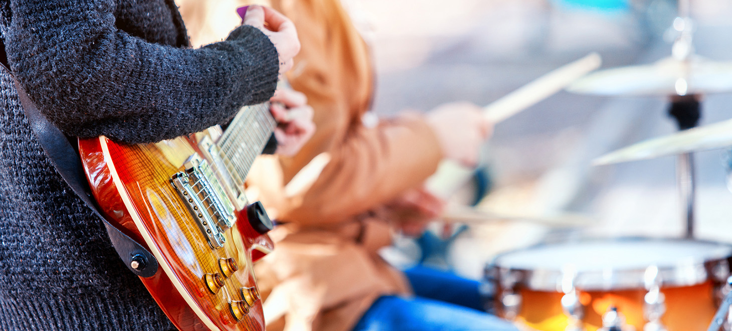 guitar player in outdoor concert