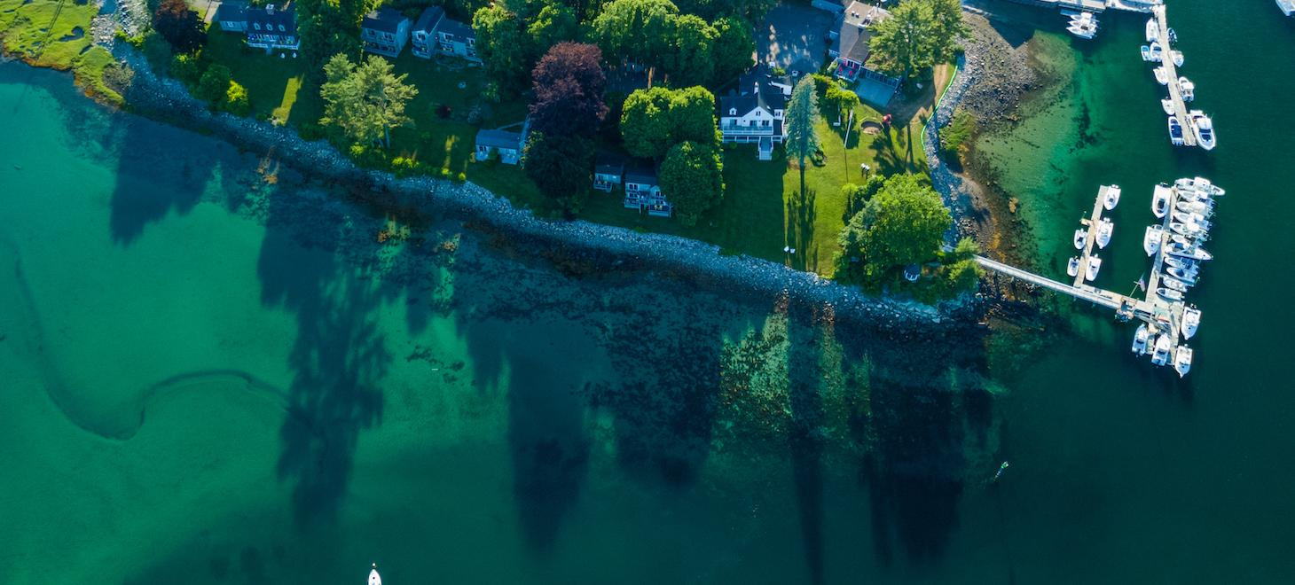 Aerial view of our waterfront Maine bed and breakfast