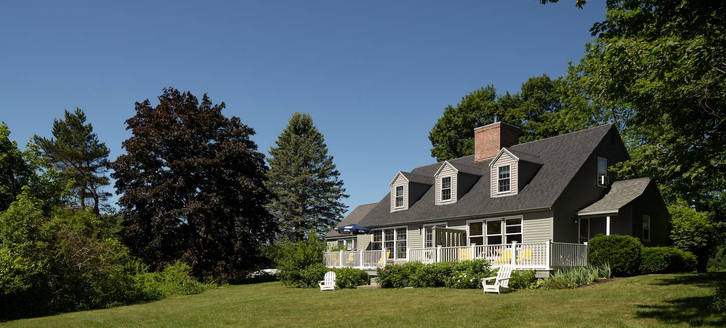 Exterior of our waterfront Maine bed and breakfast